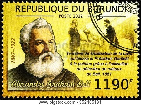 Moscow, Russia - February 23, 2020: Stamp Printed In Burundi, Shows Alexander Graham Bell (1847-1922