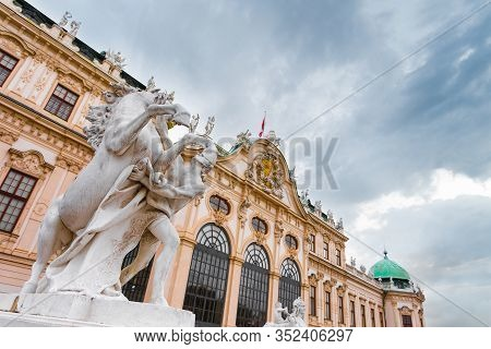Vienna, Austria - July 12, 2019: Facade Of Schonbrunn Palace Or Schloss Schoenbrunn In Vienna With S