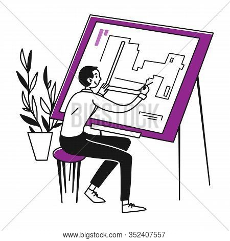 Architect Drawing Blueprint. Engineer Making Drat Flat Vector Illustration. Architecture, Engineerin