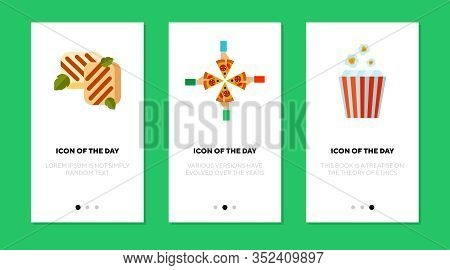 Snacks And Fast Food Flat Icon Set. Party, Crispy, Entertainment Isolated Vector Sign Pack. Food And