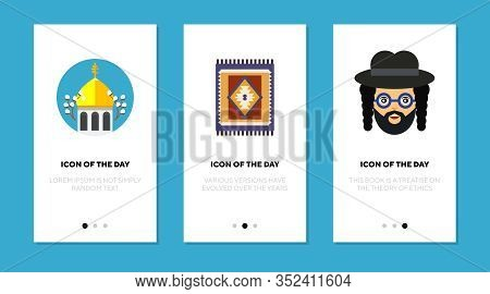 Belief Symbols Flat Icon Set. Cross, Rug, Peyyot Isolated Vector Sign Pack. Culture And Religion Con