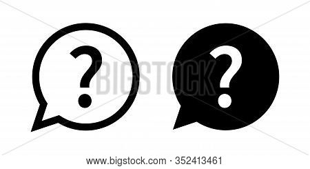 Question Mark Set Of Vector Isolated Icons. Help Sign Speech Bubble. Chat Question Icon. Question Co