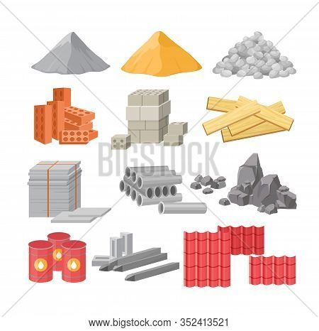 Building Materials Flat Vector Illustrations Set. Cement, Sand And Gravel Piles. Construction, Renov