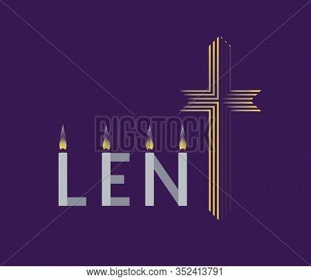 Religious Lent Flat Vector Background. Hand Drawn Christian Symbol Concept. Sacrament Biblical Churc