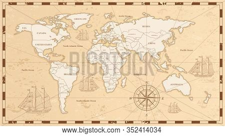 Old World Map Flat Vector Illustration. Ancient Parchment With Countries And Oceans Names. Vintage D