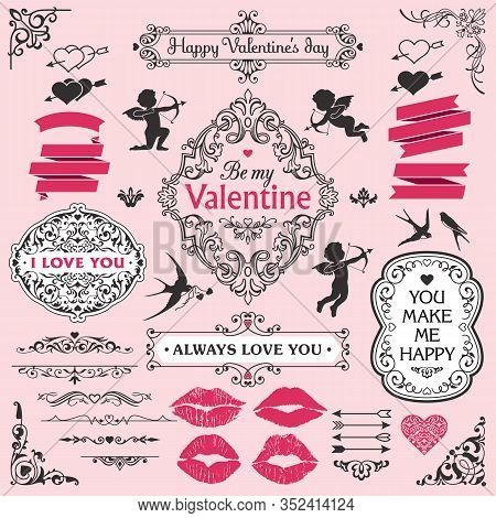 Love And Valentine`s Day Design Elements Set, Decorative Flourish Border Corner And Frame Collection