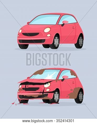 Car Crash Flat Vector Illustration. Traffic Accident, Front Collision Consequence, Vehicle Damage. A