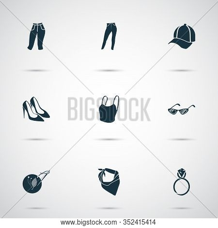 Fashionable Icons Set With Ring, Cat Eye Sunglasses, Capris And Other Neckerchief Elements. Isolated