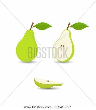 Pear Fruit, Green Pears Set, Whole Pear With Leaf, Half An Pear And Quarter Of An Pear, Isolated On