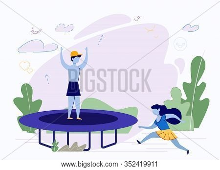 Children And Trampoline. Playtime Illustration. Boy In Cap Jumps On Sports Equipment, Girl With Long