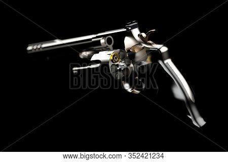3d Illustration. Gun With One Bullet. Revolver Colt Python Chrome Isolated On Black Background. Conc