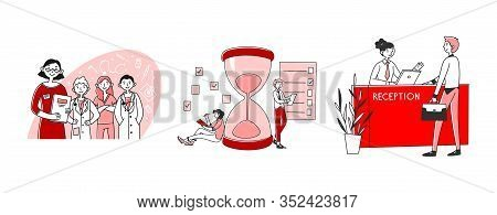 Medicine, Hotel, Management Occupations Set. Doctor Team, Reception, Manager With Checklist. Flat Ve