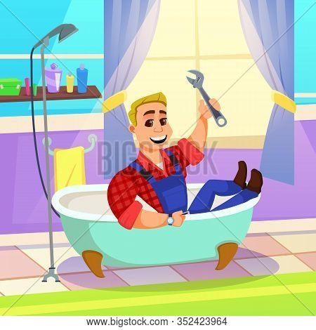 Young Blond Man, Plumber With Winning Broad Toothy Smile, Sitting In Customers Bathtub With Wrench I