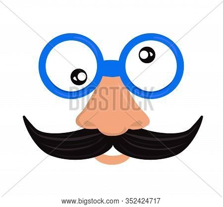 Fools Day Custome Face Accessories. Surface Nose, Mustache And Glasses. 1 April Fools Day. Carnival