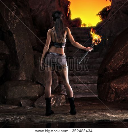 Thrill Seeking Adventurous Female About To Ascend On A Great Discovery . 3d Rendering