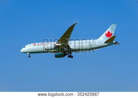 Zurich, Switzerland - July 19, 2018: Air Canada airlines airplane preparing for landing at day time in international airport