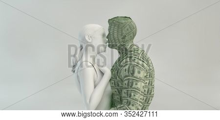 Marrying into Money as a Marriage Concept 3D Render