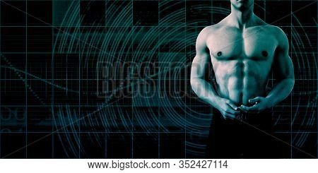 Fitness Presentation Background with Muscular Man 3D Render