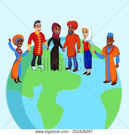 Group Six Multinational Adults, Representatives All Continents, Holding Hands And Smiling Happily, S