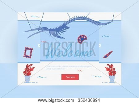Invitation To Exhibition Landing Page. Pterodactyl In Show Center Flat Cartoon Vector Illustration.