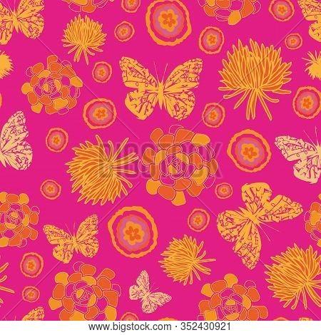 Butterflies Groove-butterfly Garden, Seamless Repeat Pattern Of Butterflies, Succulents And Flowers