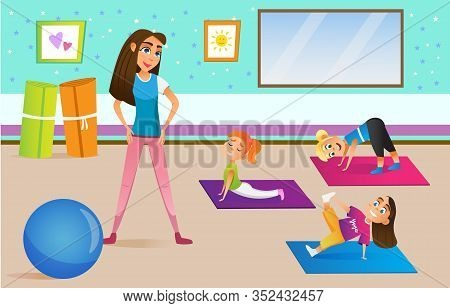 Kids In Physical Education Class In Different Poses Flat Cartoon Vector Illustration. Children With