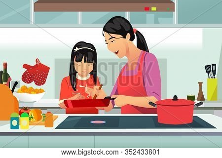 A Vector Illustration Of Chinese Mother And Daughter Cooking In The Kitchen