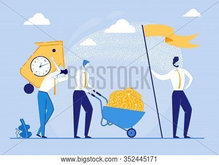Poster Making Profit For Completed Task On Time. Man Rolls Cart With Coins, Guy Carries Heavy Watch,