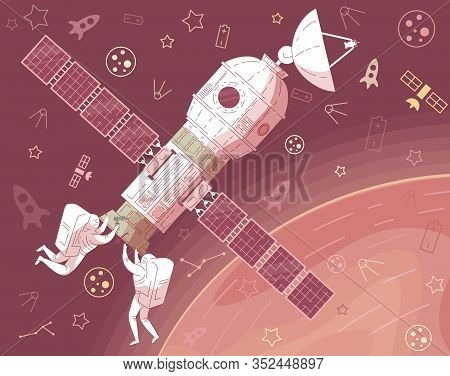 Astronaut In Helmet Space Suit Repair Spaceship In Outer Space Vector Illustration. Cosmonaut Spaces
