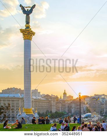 Kiev, Ukraine - May 25, 2019: Skyline Of Independence Square (maidan Nezalezhnosti) - Is The Main Sq