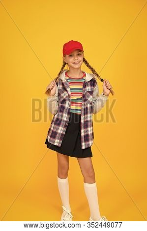 Styles To Fit Her Lifestyle. Happy Small Girl Enjoy Comfortable Fashion Style. Little Cute Child Wit