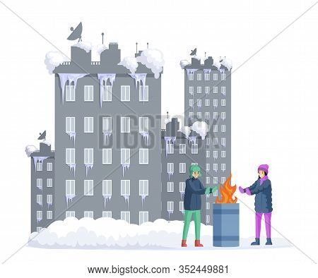 Frozen Girl And Boy Warming His Hands Next To Garbage Barrel With Snow Covered City On Background. P