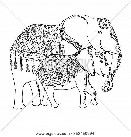 Elephant Family Doodle Sketch. Animal Outline Hand Drawn Ink Monochrome Art Design Element For Web,