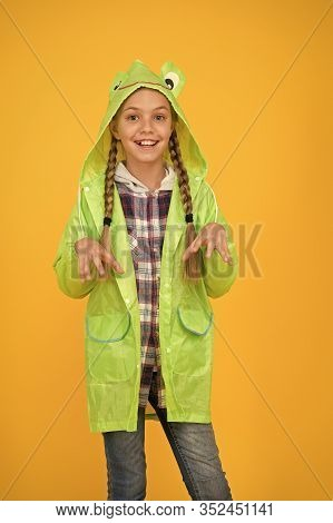 Schoolgirl Hooded Raincoat Enjoy Rainy Weather. Rainproof Accessory. Waterproof Clothes Every Kid Sh
