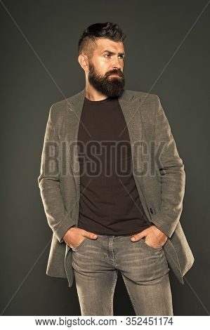 Fashion Outfit. Masculine Look. Brutal Hipster Man. Hipster Wearing Casual Clothes. Hipster Beard An