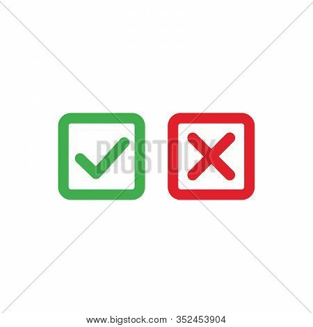 Tick And Cross Icons. Green Checkmark Ok And Red X Icons, Square Shape Symbols Yes And No Button For