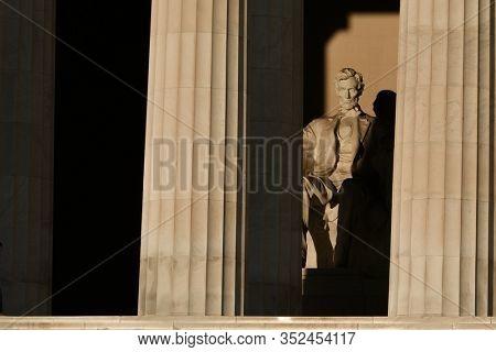 Abraham Lincoln statue in Lincoln Memorial  -  Washington DC, United States of America