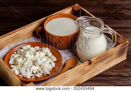 Homemade Fermented Milk Products - Kefir, Cottage Cheese In A Wooden Tray On A Wooden Background. Th