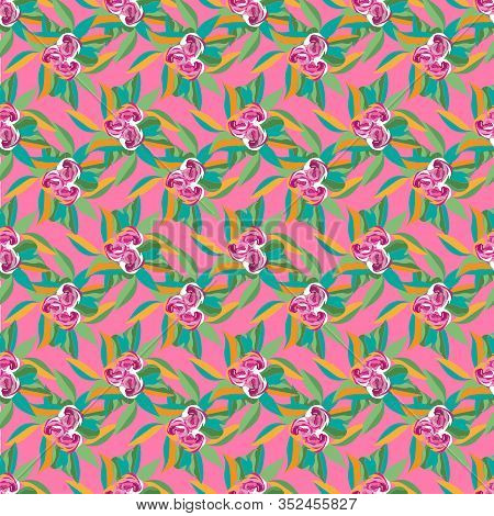 Tropical Flowers And Fern -flowers In Bloom Seamless Repeat Pattern. Vivid Flowers And Fern Leaves P