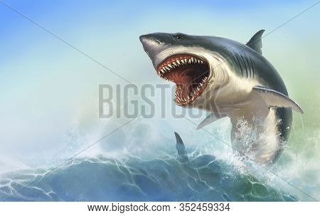 Great White Big Shark Body On Background Of The Waves Realistic Illustration.