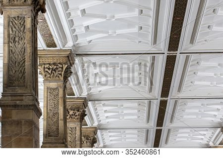Ornate Ceiling And Pillar Moulding Architecture. Interior Decoration And Formal Historic Design. Bea