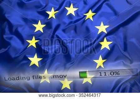 Downloading Files On A Computer With European Union Flag