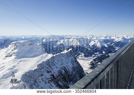 Mountain View From Zugspitze, Bavaria, Germany, In Wintertime