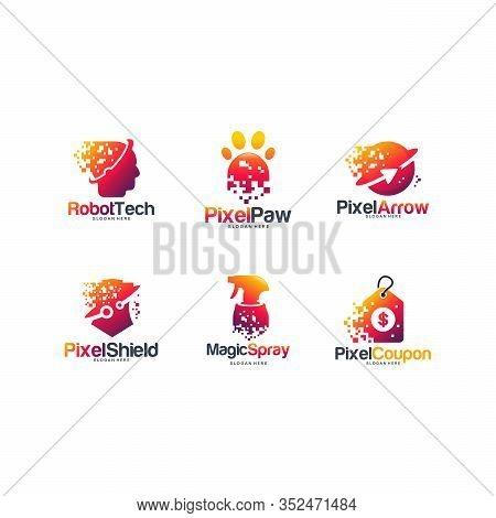 Set Of Pixel Tech Logo Designs Concept, Robotic Tech Logo, Pixel Paw, Pixel Arrow, Shield, Shield Te
