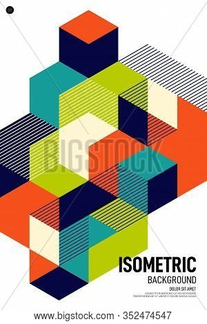 Abstract Colorful Isometric Geometric Shape Layout Poster Background Modern Art Style. Graphic Desig