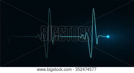Vector Cardiogram Illustration, Heartbeat, Electrocardiogram With Red Mesh. Healthcare, Life And Hea