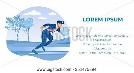 Busy Cartoon Businessman Character In Formal Suit With Clock Or Big Stopwatch Running In Forest. Tim