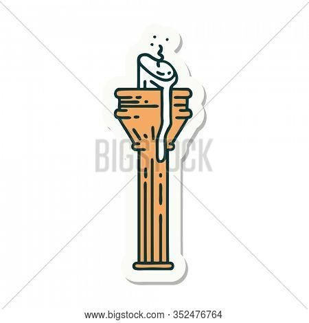 sticker of tattoo in traditional style of a candelabra