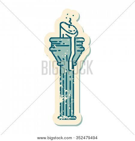 iconic distressed sticker tattoo style image of a candelabra
