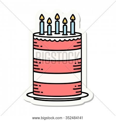 sticker of tattoo in traditional style of a birthday cake